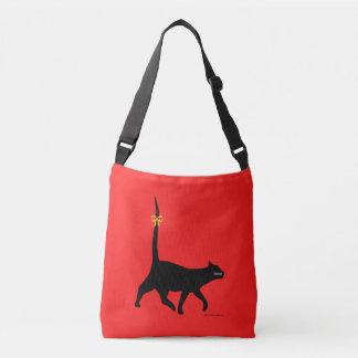 """""""Black Cat Walk"""" Red Cross Body Bag Tote Bag"""