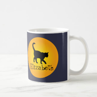 Black Cat Warm Glow - My Name Coffee Mug
