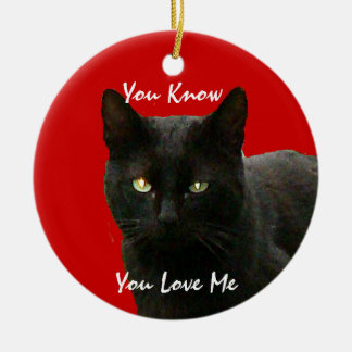 Black Cat Watching Ceramic Ornament