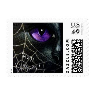 BLACK CAT & WEB HALLOWEEN Postage