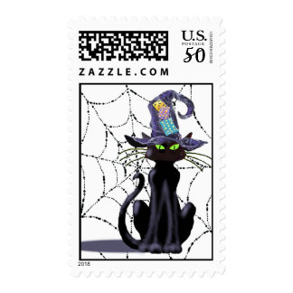 BLACK CAT, WEB & HAT by SHARON SHARPE Postage