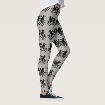 Halloween Themed Black Cat Web Moon Witch running jogging comfy Leggings