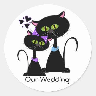 Black Cat Wedding Envelope Seal Classic Round Sticker