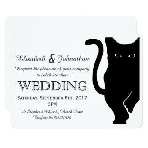 Cat wedding invitations zazzle black cat wedding invitation junglespirit Images