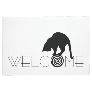 Black Cat Welcome Doormat