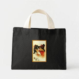 Black Cat & Welsh Girl Vintage Halloween Bag
