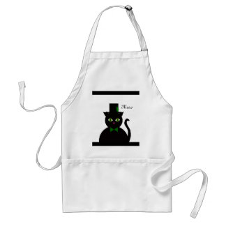 Black Cat wGreen Bow/feather Adult Apron