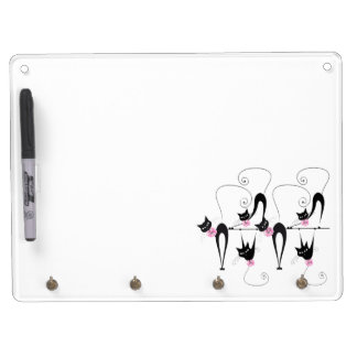 Black cat whimsical dry erase board with keychain holder