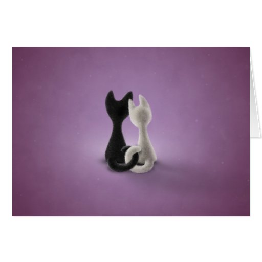 Black Cat White Cat (Color 4) Greeting Card