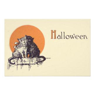 Black Cat White Cat Full Moon Romance Photo Print