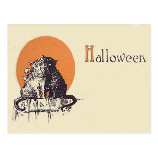 Black Cat White Cat Full Moon Romance Postcard