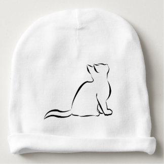 Black cat, white fill baby beanie