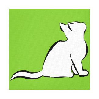 Black cat, white fill canvas print