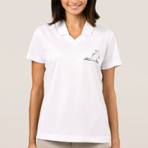 Black cat, white fill, inside text polo shirt