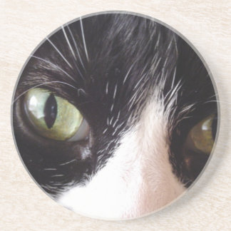 Black Cat, White Whiskers, Green Eyes Coaster
