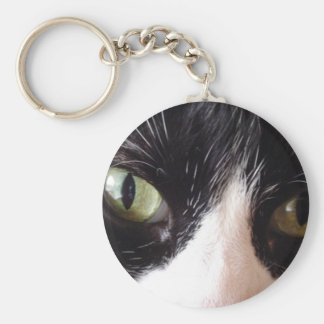 Black Cat, White Whiskers, Green Eyes Keychain