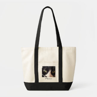 Black Cat, White Whiskers, Green Eyes Tote Bag