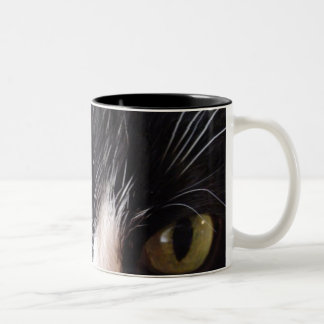 Black Cat, White Whiskers, Green Eyes Two-Tone Coffee Mug