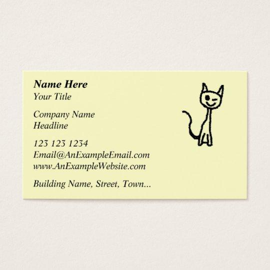 Black Cat, Winking. Business Card