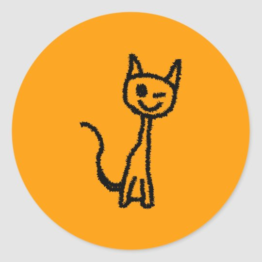 Black Cat, Winking. Classic Round Sticker