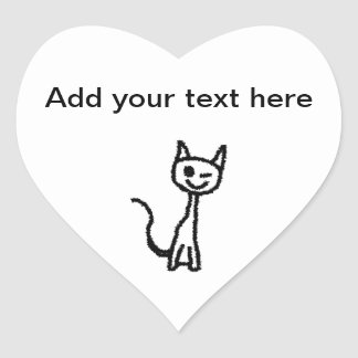 Black Cat, Winking. Heart Sticker