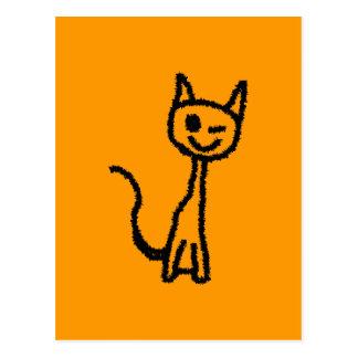 Black Cat, Winking. Postcard