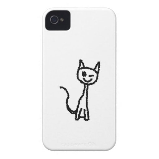 Black Cat, Winking. White background. iPhone 4 Covers