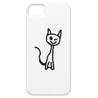 Black Cat, Winking. White background. iPhone 5 Covers