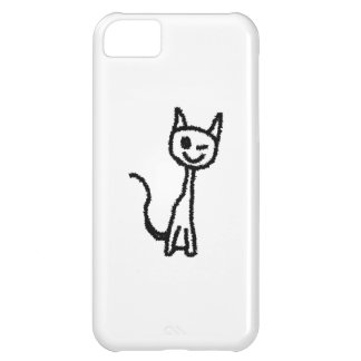Black Cat, Winking. White background. iPhone 5C Covers