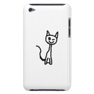 Black Cat, Winking. White background. iPod Touch Case-Mate Case