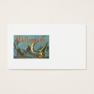 Black Cat Witch Crescent Moon Business Card