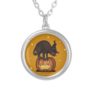 Black Cat Witch Hat Round Pendant Necklace