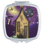 Black Cat Witch House Compact Mirror