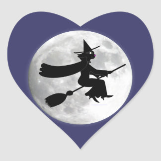 Black Cat Witch on Broom in Front of Moon Heart Sticker