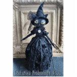 Black Cat Witch Photo Sculpture Pin