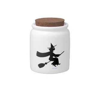 Black Cat Witch Riding Broom Candy Jars