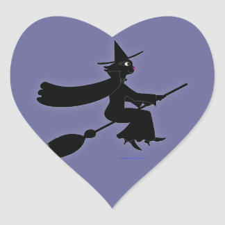 Black Cat Witch Riding Broom Stickers