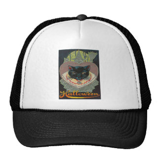 Black Cat Witch Witching Hour Full Moon Trucker Hat
