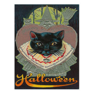 Black Cat Witch Witching Hour Full Moon Postcard
