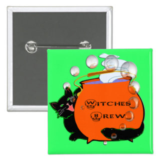 Black Cat Witches Brew Pinback Button
