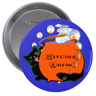 Black Cat Witches Brew Buttons