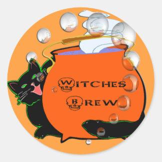 Black Cat Witches Brew Classic Round Sticker
