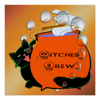 Black Cat Witches Brew Poster