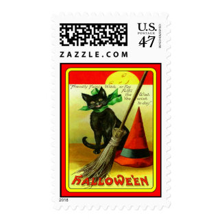 Black Cat Witch's Red Hat Postage