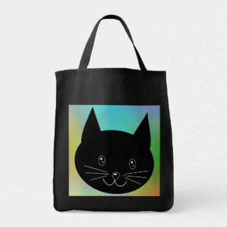 Black Cat, with a background of rainbow colors. Bags