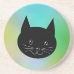 Black Cat, with a background of rainbow colors. Beverage Coaster