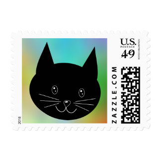 Black Cat, with a background of rainbow colors. Postage