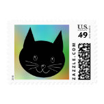 Black Cat, with a background of rainbow colors. Postage Stamp