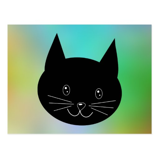 Black Cat, with a background of rainbow colors. Post Card