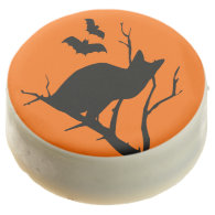 Black Cat With Bats Halloween Party Treat Chocolate Dipped Oreo